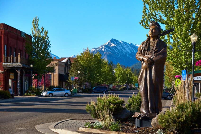 Chief Joseph Bronze on Main Street in Joseph Oregon