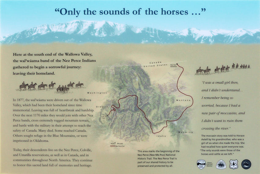 nez perce trail beginning signage