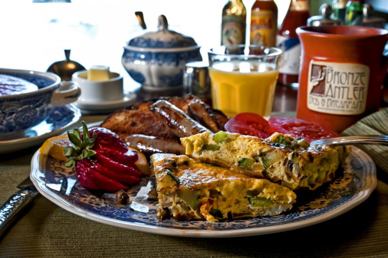 Signature Vegetable Frittata with all the sides at the Bronze Antler Bed & Breakfast. Photo by Unique Angles Photography.