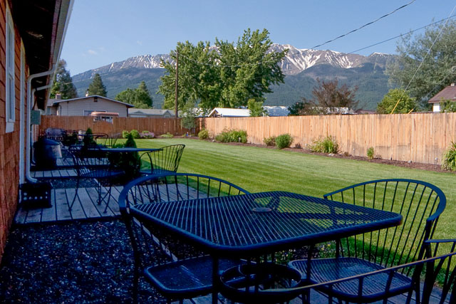The rear yard is a nice place to play and enjoy the view